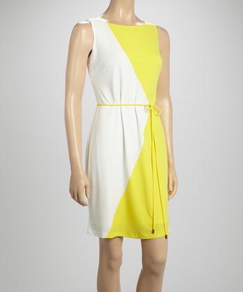 Sandra Darren Ivory & Yellow Diamond Sheath Dress