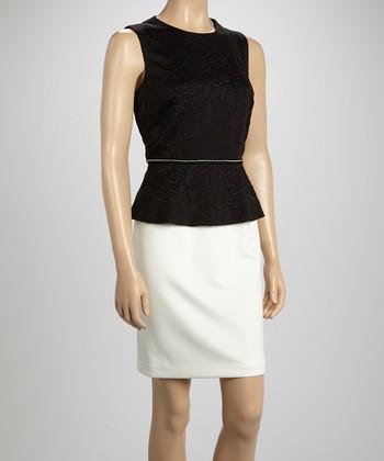 Sandra Darren Black & Ivory Peplum Dress