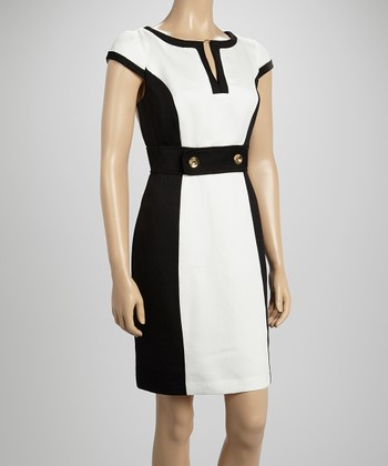 Sandra Darren Black & White Ottoman Button Cap-Sleeve Dress
