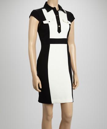 Sandra Darren Ivory & Black Pocket Color Block Cap-Sleeve Dress