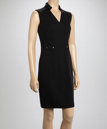 Sharagano Black Epaulet V-Neck Dress