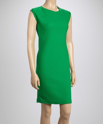 Sharagano Sea Green Textured Cap-Sleeve Dress