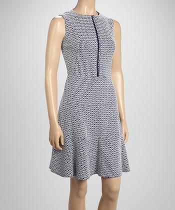 Sharagano Navy Zip-Up A-Line Dress