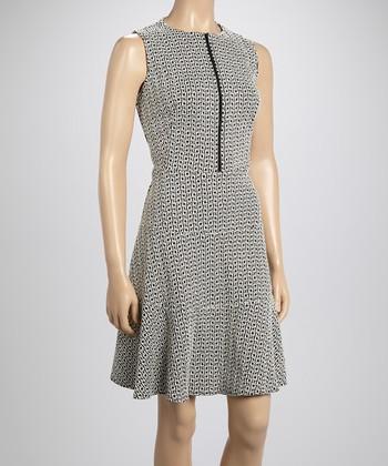 Sharagano Black Zip-Up A-Line Dress