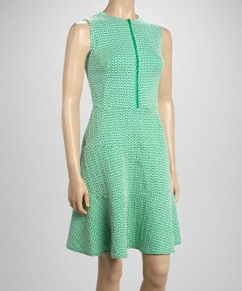 Sharagano Mint Zip-Up A-Line Dress