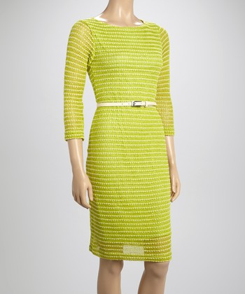 Sharagano Lime Belted Three-Quarter Sleeve Dress