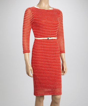 Sharagano Coral Belted Three-Quarter Sleeve Dress