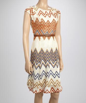 Sharagano Tan Zigzag Crocheted Dress