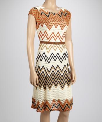 Sharagano Creme Zigzag Crocheted Dress