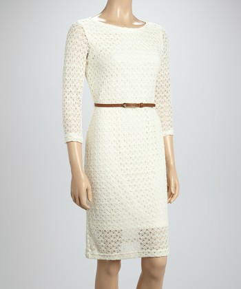 Sharagano Ivory Belted Crocheted Dress