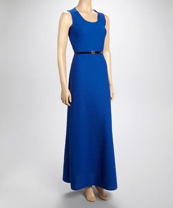 Sharagano Royal Blue Textured Maxi Dress