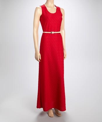 Sharagano Pomegranate Textured Maxi Dress