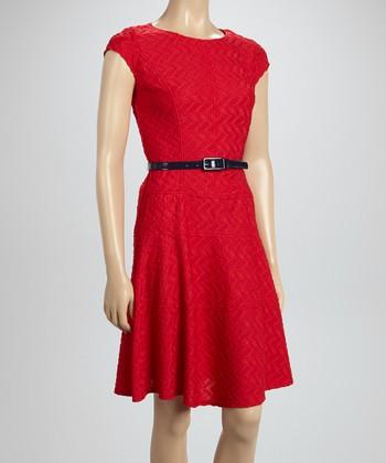 Sharagano Pomegranate Textured A-Line Dress