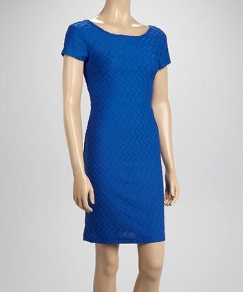 Sharagano Royal Blue Textured Sheath Dress
