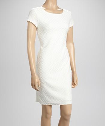 Sharagano Ivory Textured Sheath Dress