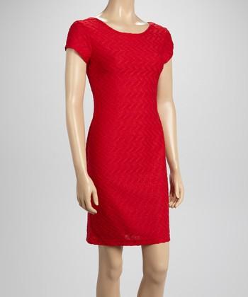 Sharagano Pomegranate Textured Sheath Dress