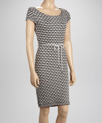Sharagano Black Textured Rope Dress