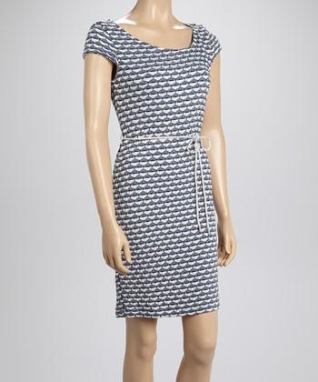 Sharagano Blue Textured Rope Dress