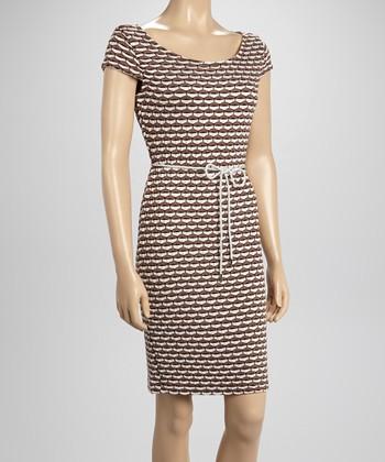 Sharagano Brown Textured Rope Dress