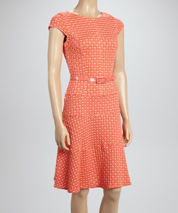 Sharagano Coral Belted A-Line Dress