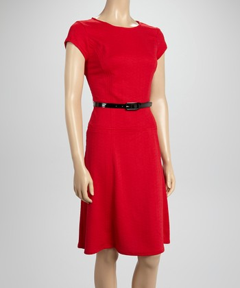 Sharagano Red Tapered Cap-Sleeve Dress
