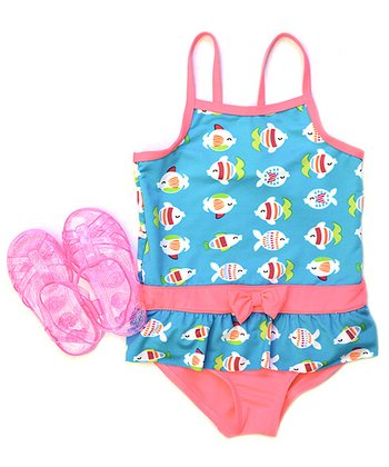 Turquoise & Pink Fishes One-Piece & Sandals - Infant & Toddler