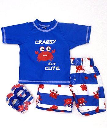 Wippette Royal Blue Crabby Swim Trunks Set - Infant & Toddler