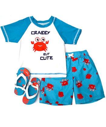 Wippette Blue Crabby Swim Trunks Set - Infant & Toddler