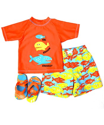 Wippette Orange Big Fish Swim Trunks Set - Infant
