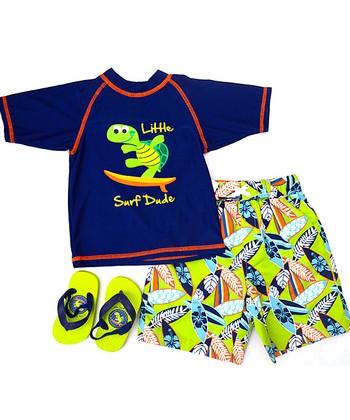 Wippette Navy & Lime 'Little Surf Dude' Swim Trunks Set - Infant & Toddler