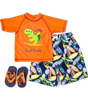 Wippette Orange 'Little Surf Dude' Swim Trunks Set - Infant & Toddler