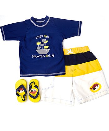 Wippette Blue & Yellow 'Pirates Only!' Swim Trunks Set - Infant & Toddler