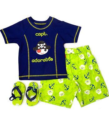 Wippette Navy & Green Sea Captain Swim Trunks Set - Infant