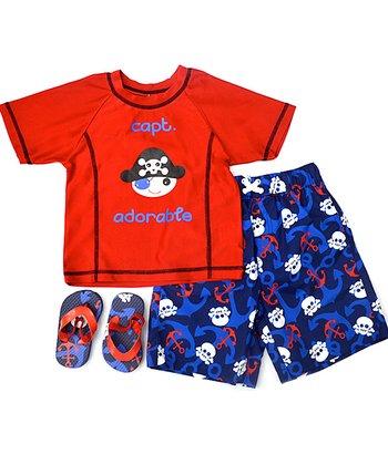Wippette Red & Blue Sea Captain Swim Trunks Set - Infant & Toddler