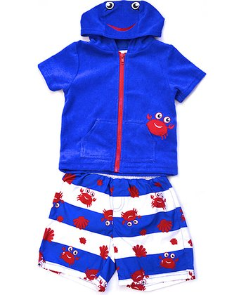 Wippette Royal Blue Crabby Swim Trunks & Cover-Up - Infant & Toddler