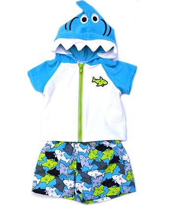 Wippette Blue & Green Sharks Swim Trunks & Cover-Up - Infant
