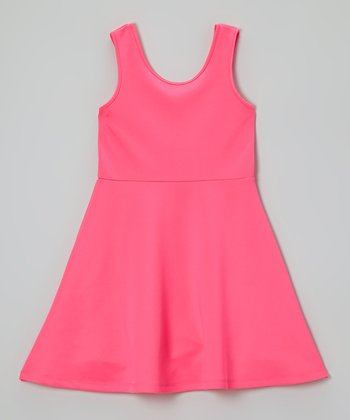 Hot Pink A-Line Dress - Girls