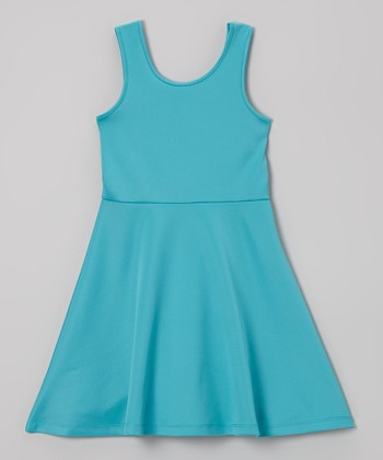 Aqua A-Line Dress - Girls