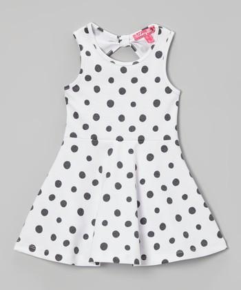 White Polka Dot A-Line Dress - Infant & Toddler