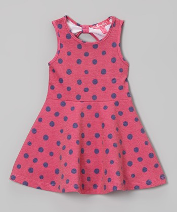 Fuchsia Polka Dot A-Line Dress - Infant & Toddler