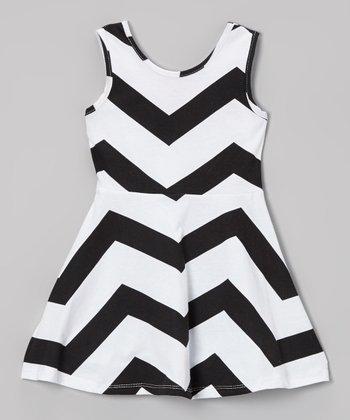 Black & White Zigzag A-Line Dress - Toddler & Girls