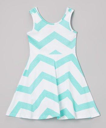 Powder Teal & White Zigzag A-Line Dress - Toddler & Girls