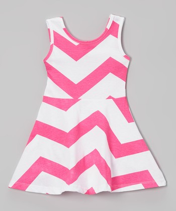 Hot Pink & White Zigzag A-Line Dress - Toddler & Girls