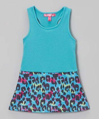 Aqua Cheetah Racerback Dress - Toddler & Girls