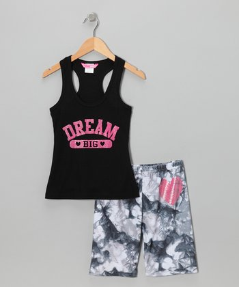 Black 'Dream' Pajama Set