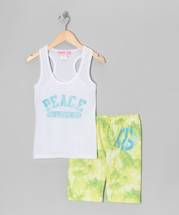 White 'Peace' Pajama Set
