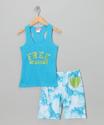Blue 'Free' Pajama Set