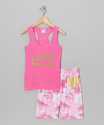 Pink 'Love' Pajama Set