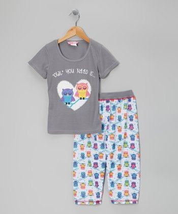 Gray Owl Capri Pajama Set