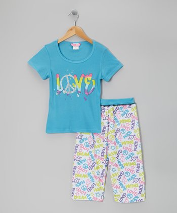 Blue 'Love' Capri Pajama Set